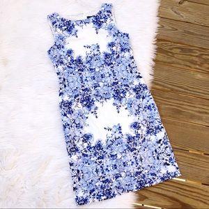 Adrianna Papell Blue Floral A Line Dress